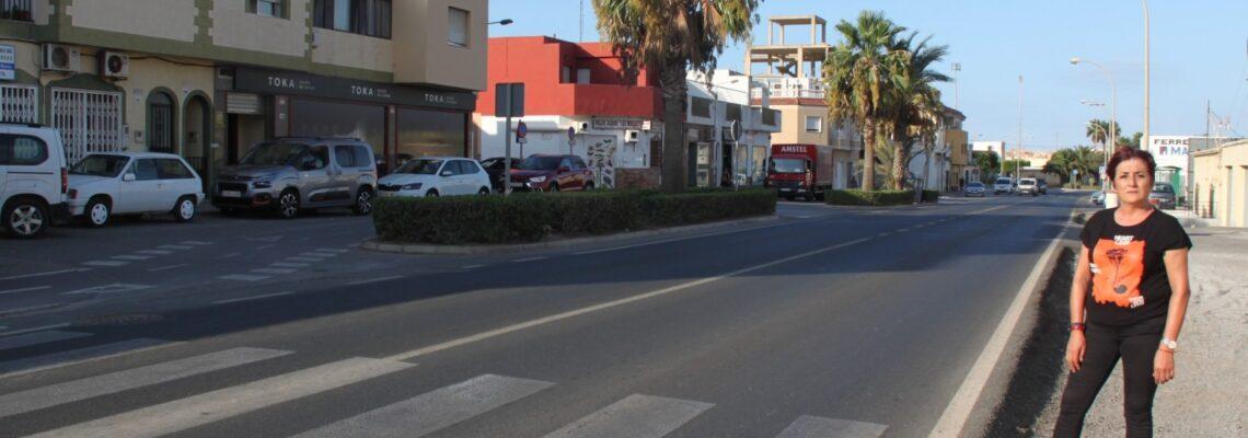 El PSOE de El Ejido pide al Gobierno local que se rebaje el firme en varios puntos de la carretera de La Mojonera a su paso por Las Norias de Daza